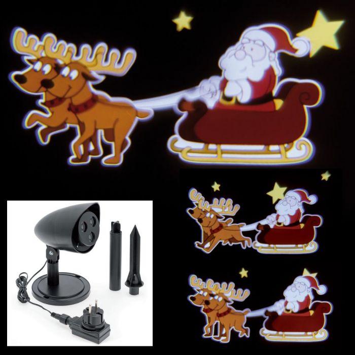 Immagini Natale Movimento.Proiettore Led Color Babbo Natale Su Slitta Con Renne In Movimento