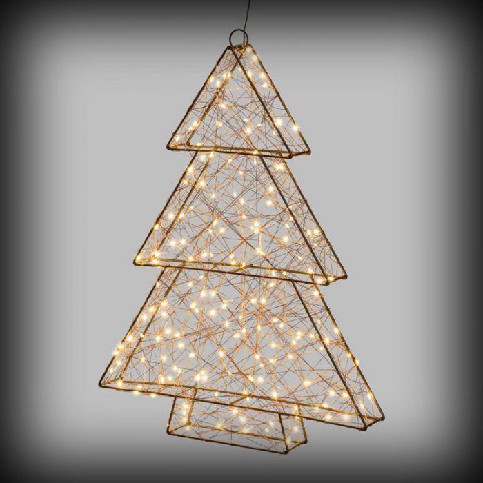 Stella Di Natale Tridimensionale.Albero Di Natale 3d In Metallo Con 180 Microled H60 Cm Flashled Bianco Caldo