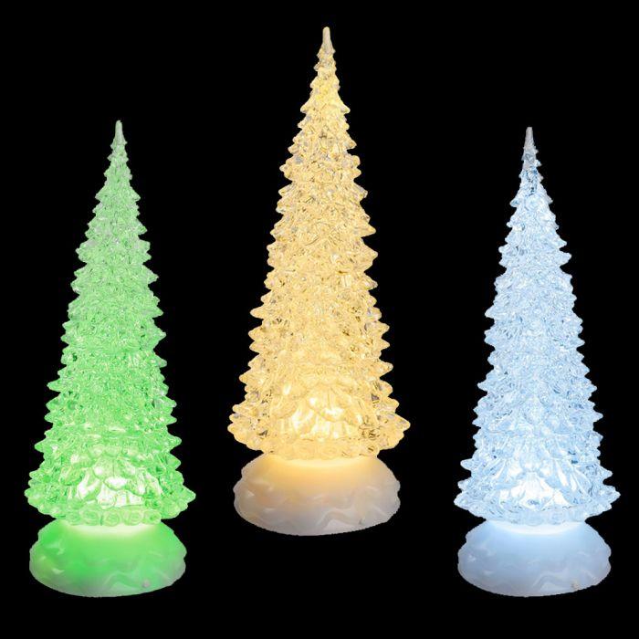 Immagini Di Natale Glitter.Mix 3 Alberi Di Natale Luminosi A Batteria In Glitter Ice Acrilico H 27 Cm