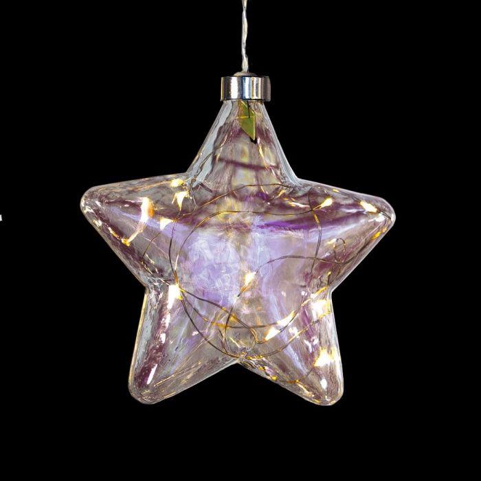 Stella Di Natale A Batteria.Stella Luminosa In Vetro O 15 Cm A Batteria 10 Microled
