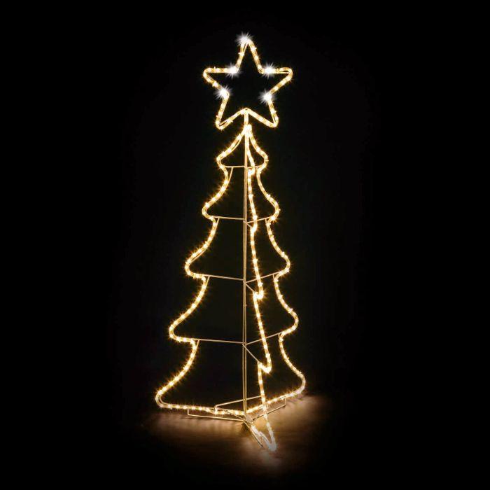 Immagini Luminose Natale.Albero Di Natale 3d In Tubo Luminoso O10mm 216 Led Con Stella Flashled Bianco Classic