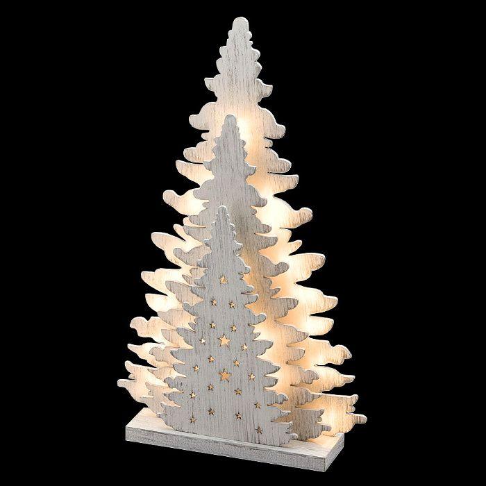 Albero Di Natale In Legno.Albero Di Natale Triplo In Legno Vintage Bianco A Batteria 20 Led Luce Fissa Bianco Classic