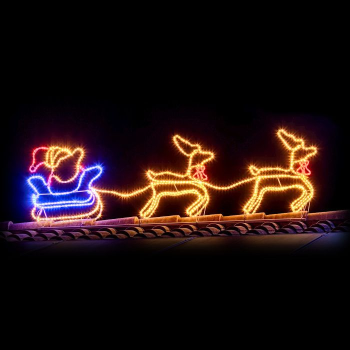 Renne Babbo Natale.Renne Con Slitta Di Babbo Natale 3d In Tubo Luminoso 828 Led O10mm