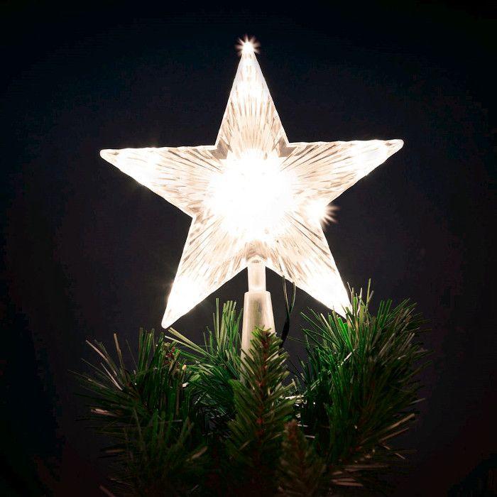 Puntale Albero Di Natale.Puntale A Stella Per Albero Di Natale 10 Led A Batteria On Off Flashing Bianco Classic