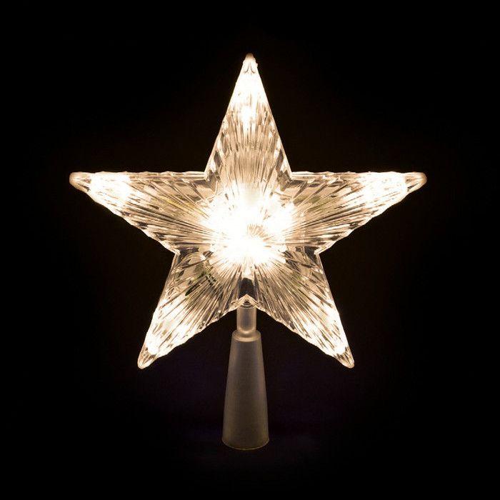 Stella Albero Di Natale Luminosa.Puntale A Stella Per Albero Di Natale 10 Led A Batteria On Off Flashing Bianco Classic