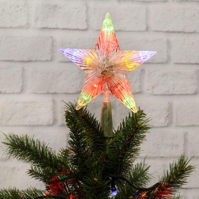 Puntale A Stella Per Albero Di Natale.Puntale A Stella Per Albero Di Natale 10 Led A Batteria On Off