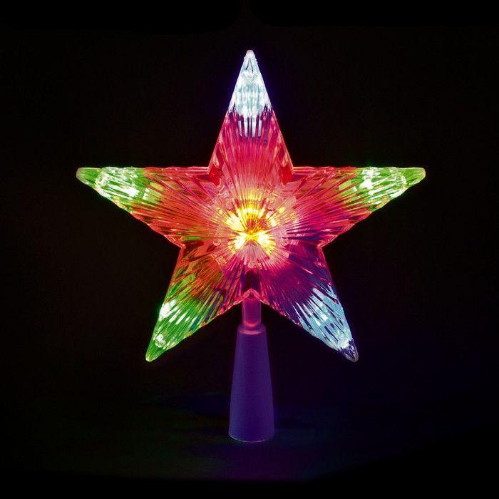Stella Albero Di Natale Luminosa.Puntale A Stella Per Albero Di Natale 10 Led A Batteria On Off Flashing Multicolor