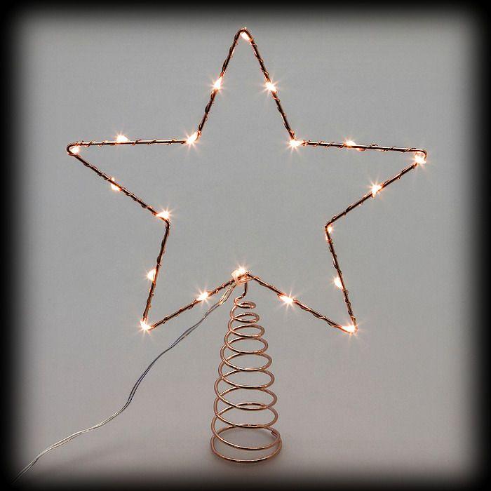 Stella Di Natale Luce.Puntale A Stella Per Albero Di Natale Metal Frame 20 Microled Luce Fissa Bianco Classic