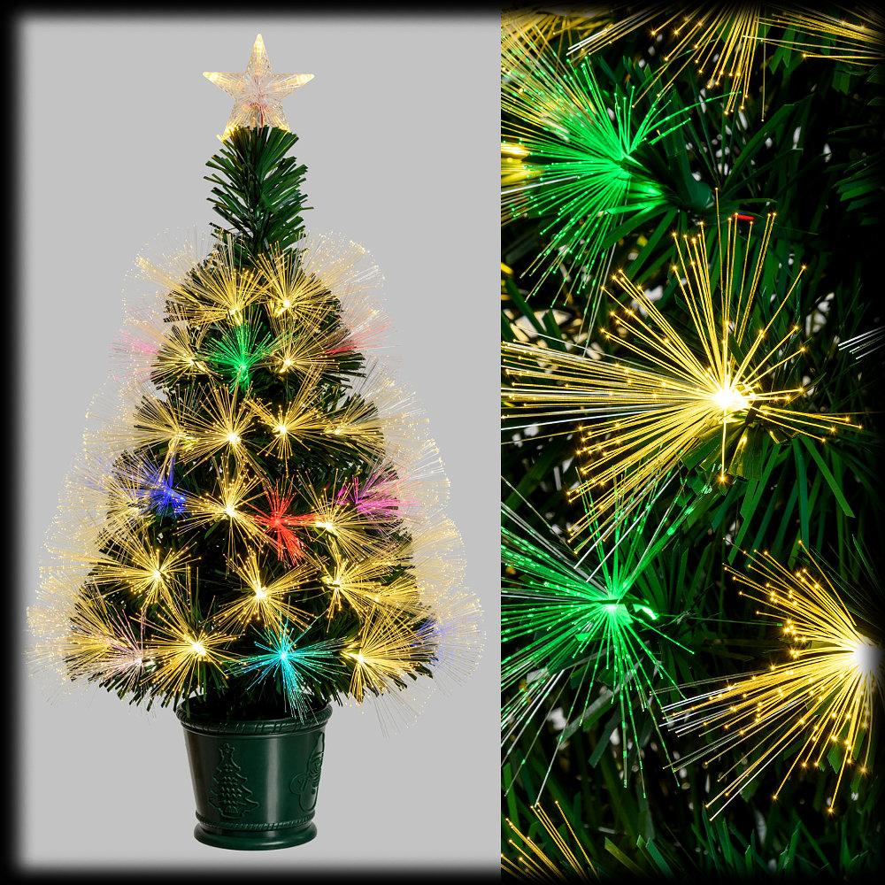 Albero Di Natale 70 Cm.Albero Di Natale Fibre Ottiche H 70 Cm Bianco Classic E Giochi Di Luce Flashled Rgb