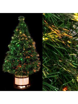 Albero di Natale H 90 cm vaso di legno illuminato - fibre ottiche - multicolor
