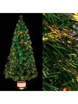 Albero di Natale H 120 cm vaso di legno illuminato fibre ottiche multicolor alogeno
