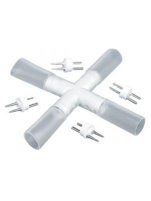 connettore rigido a croce per tubi luminosi