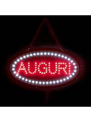 Insegna luminosa natalizia Auguri 120 led 40 x H 18 cm giochi di luce bianco e rosso led reflex