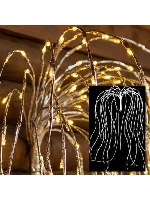 Ramo argento salice piangente 480 led H 120 cm flashled bianco classic