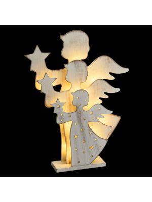 Angelo triplo in legno bianco traforato con 15 led - h 35 cm - bianco caldo