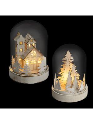 Mix 2 decorazioni con cupola in vetro a batteria h 18 cm - bianco caldo