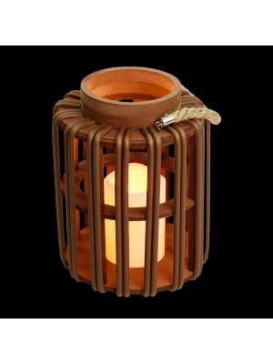 Lanterna asian style a batteria h 25 cm effetto vimini marrone con candela - bianco classic