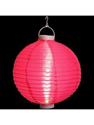 Lanterna party a batteria ø 40 cm in tessuto rosa - bianco classic