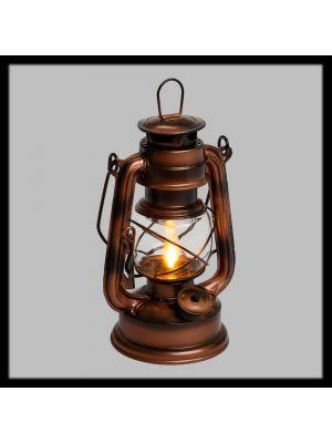 Lanterna old style in metallo tipo rame antico con fiamma moving flame - arancio
