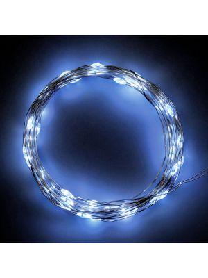 Catena a batteria 40 microled 4,00 m - luce fissa - cavo metal - bianco ghiaccio