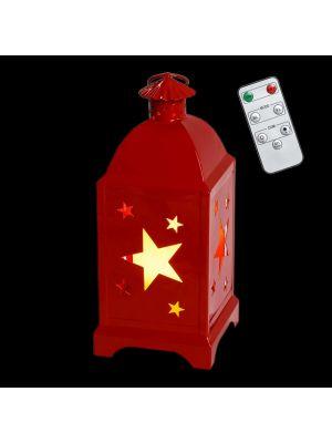 Lanterna a batteria in metallo rosso traforato decoro stelle h 29 cm - telecomando e timer - bianco caldo