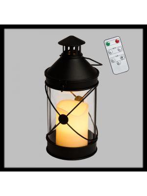 Lanterna a batteria h 27 cm in metallo nero con candela led bianco caldo - con telecomando e timer