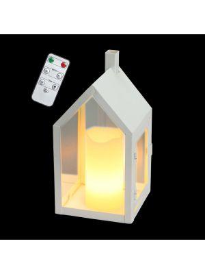 Lanterna a batteria a forma di casetta h 20 cm - con telecomando e timer