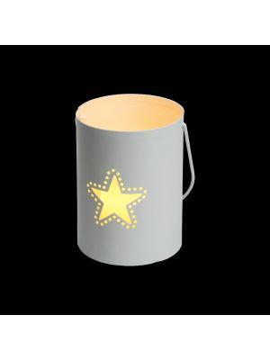 Secchiello Billy porta candela a batteria con decoro traforato stella h 12 cm - bianco caldo