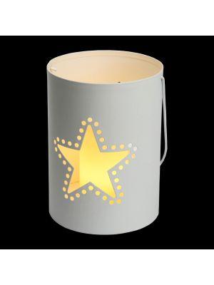 Secchiello Billy porta candela a batteria con decoro traforato stella h 16 cm - bianco caldo