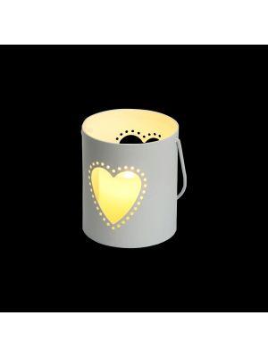 Secchiello Billy porta candela a batteria con decoro traforato cuore h 9 cm - bianco caldo