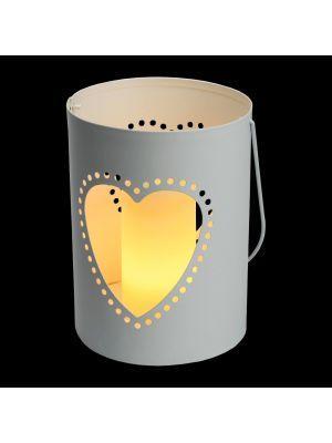 Secchiello Billy porta candela a batteria con decoro traforato cuore h 16 cm - bianco caldo