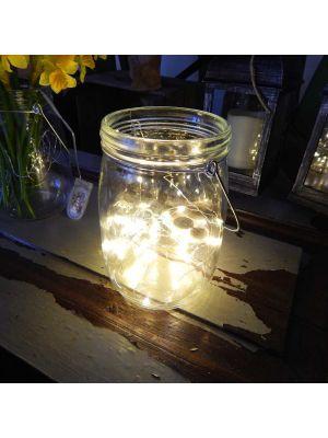Barattolo luminoso con manico in metallo - 40 microled - bianco classic
