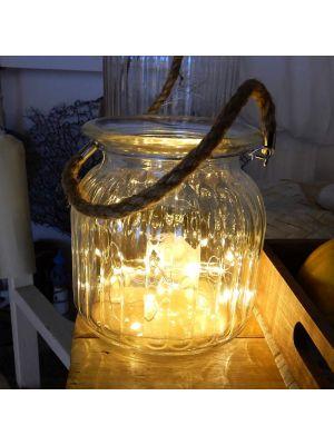Vaso di vetro Athena con manico in corda naturale - 40 microled - bianco classic
