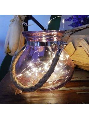 Vaso di vetro viola Jade con manico in metallo e corda - 40 microled - bianco classic