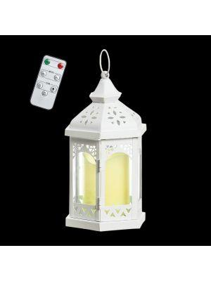 Lanterna esagonale a batteria in metallo bianco e vetro h 24,5 cm - telecomando e timer - bianco caldo