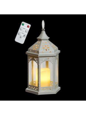 Lanterna esagonale a batteria in metallo bianco e vetro h 34 cm - telecomando e timer - bianco caldo