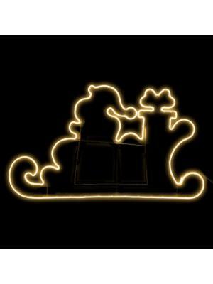 Slitta con Babbo Natale e regali 145 x h 80 cm SMD neon bifacciale 840 led - bianco classic