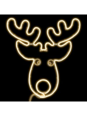 Testa di renna 78 x h 80 cm SMD neon bifacciale 600 led - bianco classic
