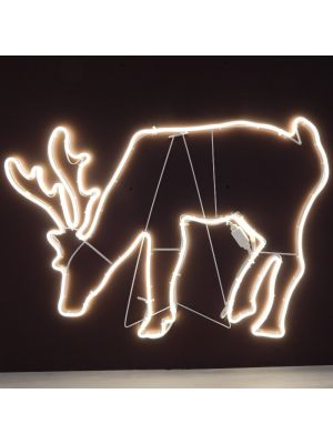 Renna che bruca 95 x h 70 cm SMD neon bifacciale 720 led - bianco classic