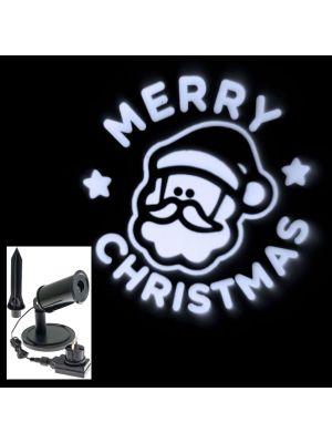 Proiettore a led Merry Christmas con faccia Babbo Natale - bianco freddo
