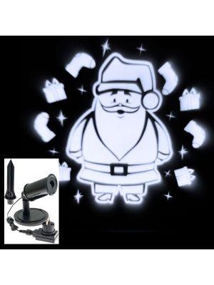 Proiettore a led Babbo Natale con calze e regali - bianco freddo