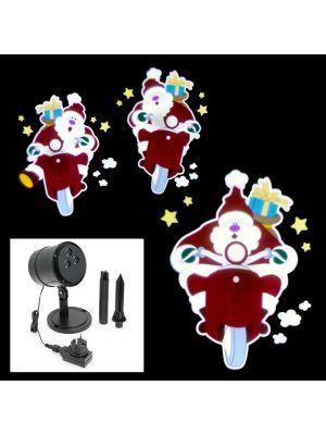 Proiettore Led Color Musicale Animato Babbo Natale In Corsa Su
