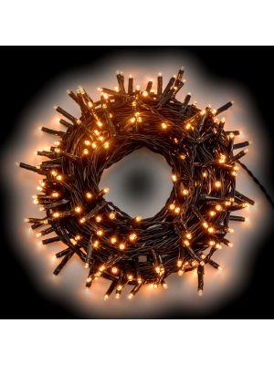 Catena luminosa 12,60 m - 180 miniled a luce fissa - bianco caldo tradizionale