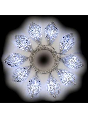 Catena a batteria 1,35 m 10 foglie luce fissa o flashing - bianco freddo