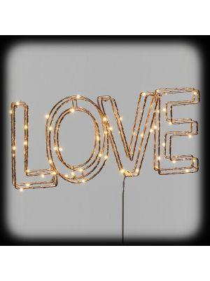 Scritta LOVE 3D con telaio in metallo color rame - 60 microled - bianco classic
