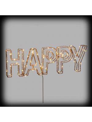 Scritta HAPPY 3D con telaio in metallo color rame - 78 microled - bianco classic