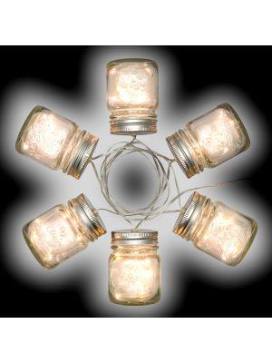Catena a batteria 1,5 m - decorazione 6 vasetti di vetro 30 microled luce fissa o flashing - bianco ghiaccio