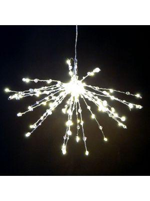Ramo luminoso twig ball ø 30 cm cristalli rosa - 60 microled - bianco classic