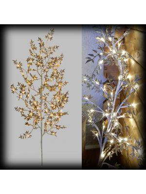Ramo / albero h120 con foglie glitter 64 led reflex - bianco classic