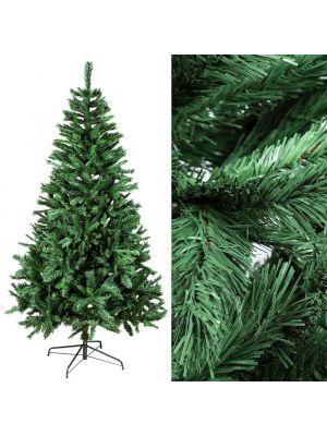 Albero di Natale classico in pvc verde H 240 cm con base in metallo interno